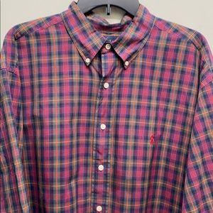 Ralph Lauren XXL check plaid cotton shirt button